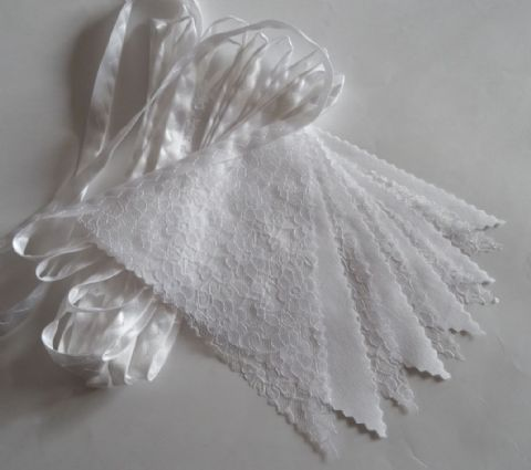 BUNTING - Plain White and Lace on a White Satin Ribbon - 3m, 5m or 10m